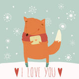 Card for Valentine's Day with a fun fox Stock Image