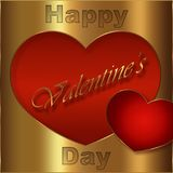 Card of Valentine`s Day, version dislocates golden and red. Card of Valentine`s Day, golden and red collection for the pleasure to offer Royalty Free Stock Photography