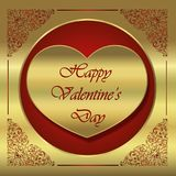 Card of Valentine`s Day, version dislocates golden and red. Card of Valentine`s Day, golden and red collection for the pleasure to offer Stock Images