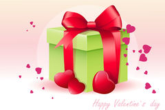 Card for Valentine's Day with green box-EPS10. Card for Valentine's Day with green box Royalty Free Stock Image