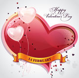 Card for Valentine's Day with hearts and balloons Royalty Free Stock Images