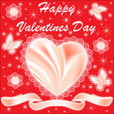 Card for Valentine's Day with hearts and butterflies silk Royalty Free Stock Photo