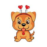 Card of a Valentine`s Day. Portrait of a dog in a fun pink heart headband. Vector illustration Stock Photo