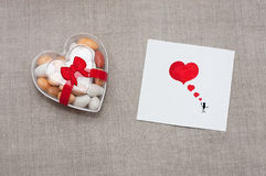 Card Valentine`s Day in a Scandinavian style with empty space fo Stock Image