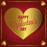 Card of Valentine`s Day, version dislocates golden and red. Card of Valentine`s Day, golden and red collection for the pleasure to offer Stock Photography
