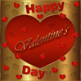 Card of Valentine`s Day, version dislocates golden and red. Card of Valentine`s Day, golden and red collection for the pleasure to offer Stock Photo