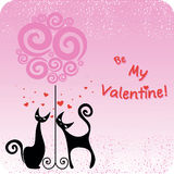 Card for the Valentines day with couple cats and tree Royalty Free Stock Image
