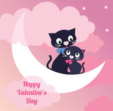 Card Valentines Day couple of lovers cats Stock Photo