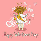 Card for Valentines Day with cupid Royalty Free Stock Photography