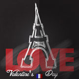Card for Valentines Day. With eiffel tower. Vector illustration Royalty Free Stock Photos