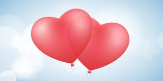 Card for Valentines day. Flying red balloons of the heart. Romantic composition. Love brochure. Glare bokeh. Vector. Illustration Royalty Free Stock Photo