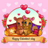 Card for Valentines Day with hamsters hugging Royalty Free Stock Photos