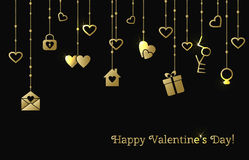 Card for Valentines Day with hanging gold hearts, gift, letter Stock Images