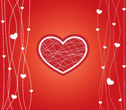 Card for Valentines Day. With heart on red background Stock Image