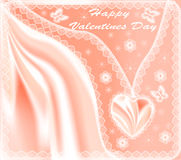 Card for Valentines Day with hearts  silk Stock Photography