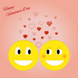 Card for Valentines Day with smiley. Vector illustration. Card for Valentines Day with smiley and hearts. Vector illustration Stock Photos