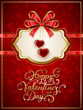 Card with Valentines hearts and bow on red background. Valentines card with glittering hearts and bow on red background, holiday lettering Happy Valentines Day Stock Image