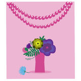 Card with a vase of flowers Royalty Free Stock Photo