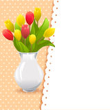 Card vase with tulips Royalty Free Stock Photo