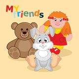 Card. Vector illustration. Card. Postcard depicting bears and bunny girls. Vector illustration Royalty Free Stock Photos