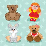 Card. Vector illustration. Card. Postcard depicting bears and bunny girls. Vector illustration Royalty Free Stock Image