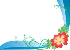 Card vector with red flower. Vector card with green plants Royalty Free Stock Photography