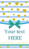 VECTOR. Greeting card with turquoise realistic bow and glittering gold dust hearts. Card VECTOR template. Greeting card with turquoise realistic bow and Royalty Free Stock Photos