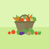 Card with vegetables in flat style. Vector illustration. Card with basket with vegetables on a table. Flat design vector illustration vector illustration