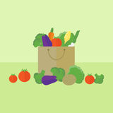 Card with vegetables in flat style. Vector illustration. Card with package with vegetables on a table. Flat design vector illustration stock illustration
