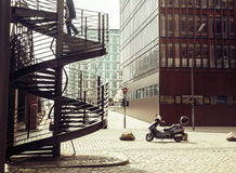 Card view: european street with stairs and motobike vintage, noone. Close up Royalty Free Stock Photography