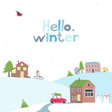 Card with a view of the snow-covered village Royalty Free Stock Photo