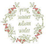 Card with vignette and calligraphic writing seasons. Spring, sum Royalty Free Stock Photo