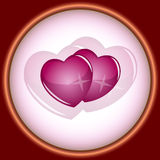 Card, vignette, couple of hearts. Beautiful card, vignette, couple of hearts. Vector illustration Royalty Free Stock Image