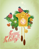 Card with vintage wooden Cuckoo Clock,  xmas gingerbread, candy Royalty Free Stock Image