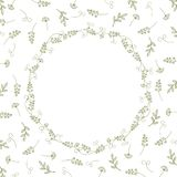 Card with vintage wreath on a background of branches, leaves and antennae. Vintage vector pattern stock illustration