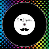 Card with vinyl record on rainbow background Royalty Free Stock Photography