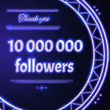 Card with violet  neon text Thank you  to ten million 10000000 f. Card with violet neon text.  Thank You message to ten million 10000000 followers. Words in arc Royalty Free Stock Photo
