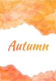 Autumn - Watercolor Orange card with White background royalty free stock photo