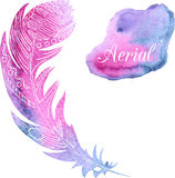 Card with watercolor feather Royalty Free Stock Images