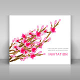 Card with watercolor flowers. Stock Photos