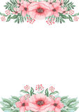 Card With Watercolor Green Fern And Pink Flowers. Card With Watercolor Green Fern, Berries and Pink Flowers Stock Image