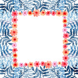 Card With Watercolor Little Red Flowers And Blue Leaves Royalty Free Stock Image