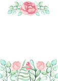 Card With Watercolor Roses, Buds and Place for Text. Card With Watercolor Pink Roses, Buds and Place for Text Royalty Free Stock Photos