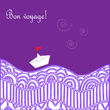 Card with waves, ship and text Happy journey in french Bon voyage. Stock Image