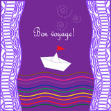 Card with waves, ship and text Happy journey in french Bon voyage. Royalty Free Stock Photography