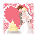 Card wedding, the bride and groom cut the cake. Sweet wedding card with patterns and heart, a happy smiling beautiful blond bride in the veil and dress with Stock Images