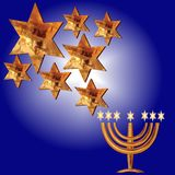 Congratulation Menorah, Magen David stars. Card for the wedding ceremony of the orthodox Judaist with gold, congratulation Mazel Tov, Menorah, Magen David stars Stock Images