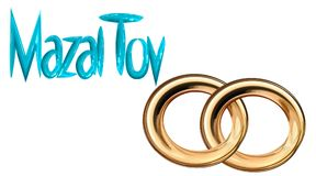 Card for the wedding ceremony of the orthodox. Judaist with gold rings, congratulation Stock Images