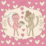 Card wedding day love cats Stock Photography
