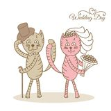 Card wedding day love cats Royalty Free Stock Photography